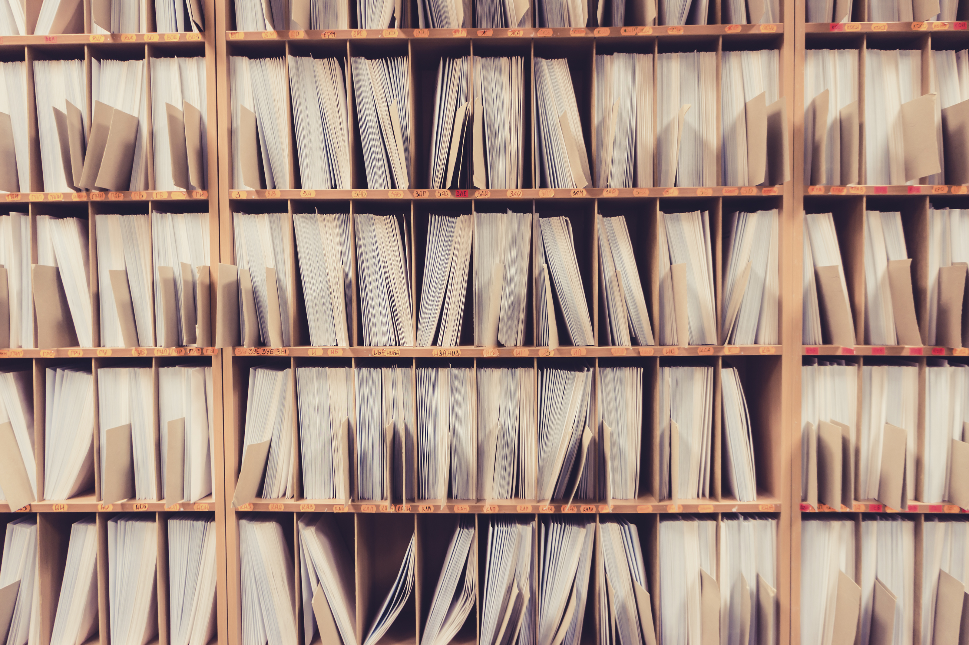 Keeping paper records on the shelves.